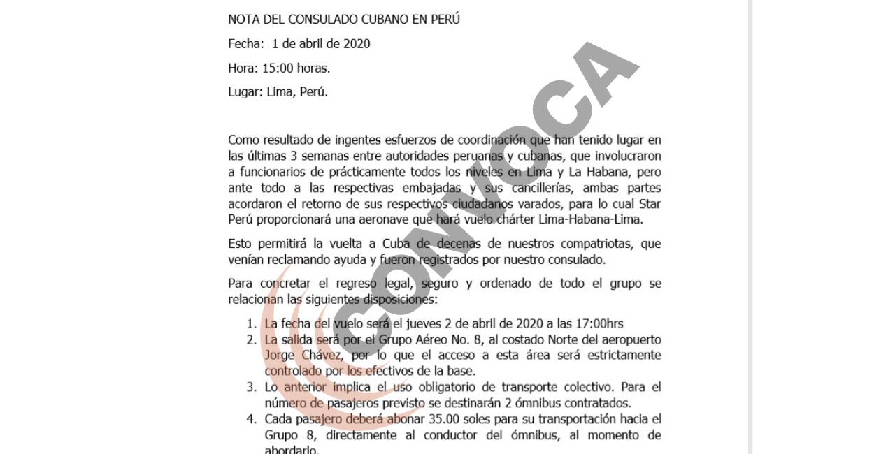 Dos buses llevaron la tarde de este 2 de abril de 2020 a los 92cubanos al Grupo Aéreo N°8 en el Callao desde donde partieronala isla: Fuente: Embajada de Cuba.